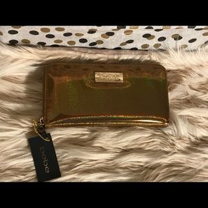 Gold holographic glitter Bebe Wallet. NWT